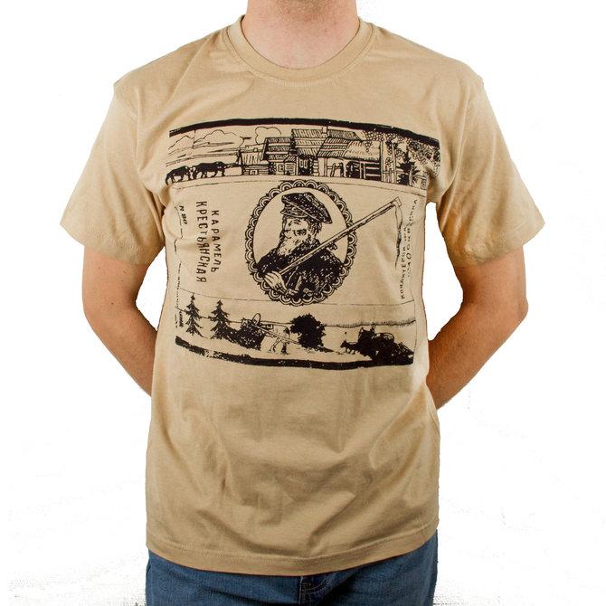 Бежевая футболка от Миши Бастера с «карамельным» дизайном: принт «Крестьянская»