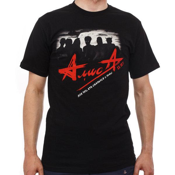 "Мужская футболка ""АлисА"" Луна (черно-красная)"