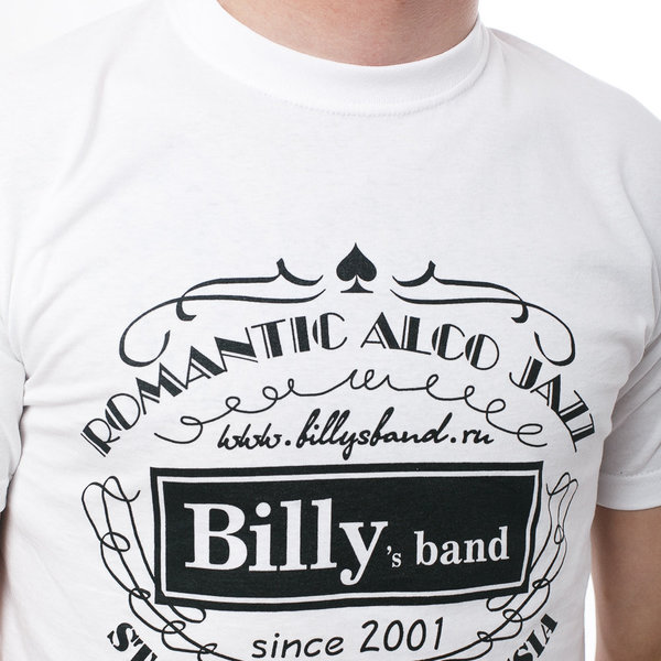 Мужская футболка «Billy's Band» Romantic Alco Jazz (белая)